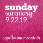 Sunday Summary: 9.22.19