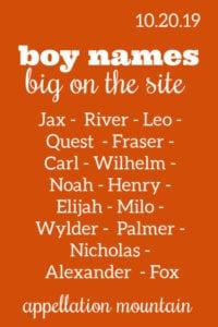 Boy Names: 10.20.19