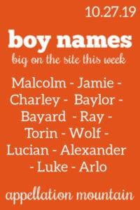Boy Names: 10.27.19