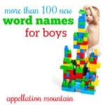 Over 100 New Word Names for Boys