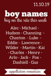Boy Names: 11.10.19