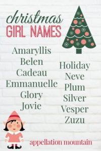 list of Christmas inspired girl names