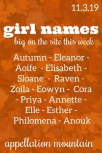 Girl Names: 11.3.19