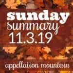 Sunday Summary: 11.3.19