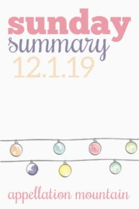 Sunday Summary: 12.1.19