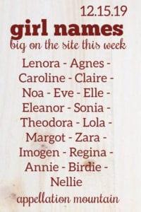Girl Names: 12.15.19