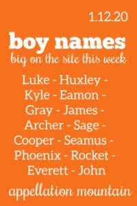 Boy Names: 1.12.20