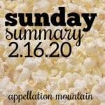 Sunday Summary: 2.16.20