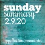 Sunday Summary: 2.9.20