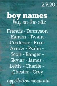 Boy Names: 2.9.20
