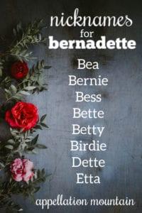 Bernadette nicknames