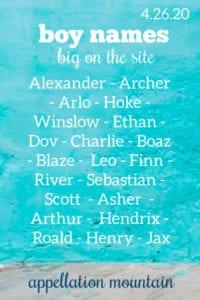 Boy Names: 4.26.20