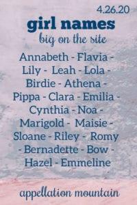Girl Names: 4.26.20