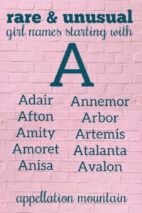 Rare Girl Names Starting with A