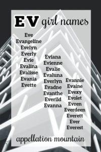 Ev girl names