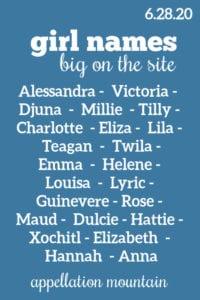 Girl Names: 6.28.20