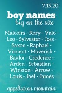 Boy Names 7.19.20