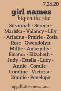 Girl Names 7.26.20