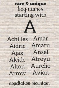 rare boy names beginning with A