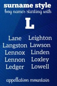 L surname names for boys