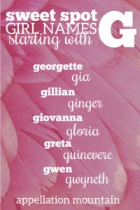 sweet spot G names for girls