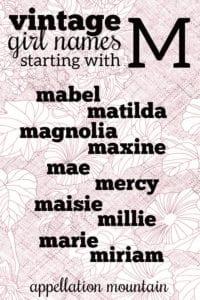 vintage M girl names