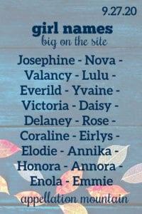 Girl Names 9.27.20