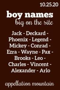 Boy Names: 10.25.20