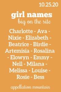 Girl Names: 10.25.20