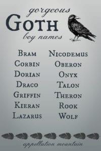 Goth boy names