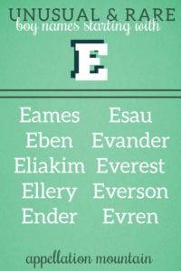 rare E names for boys