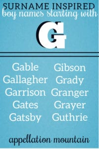 unusual surname names for boys with letter G