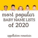 Most Popular Name Lists 2020