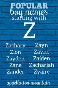 popular Z names for boys