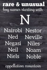 rare N names for boys