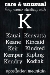 rare K names for boys