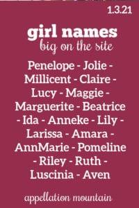 Girl Names: 1.3.21