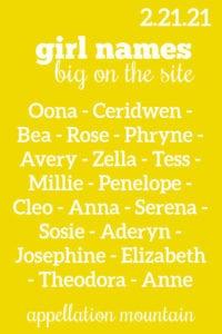 girl names 2.21.21