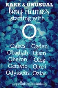 rare boy names beginning with O