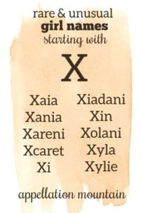 girl names beginning with X