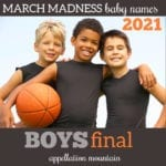 March Madness Baby Names 2021 boys final