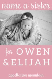 Name Help: A Sister for Owen and Elijah