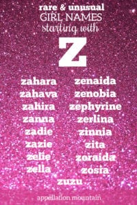 rare girl names beginning with Z