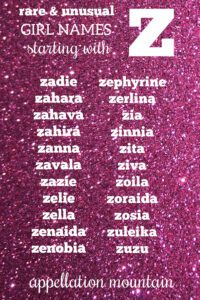 Girl Names Starting with Z
