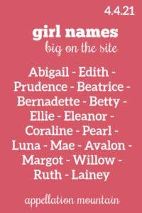 Girl Names 4.4.21