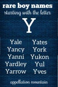 boy names beginning with Y