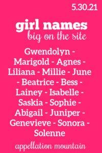 Girl Names: 5.30.21
