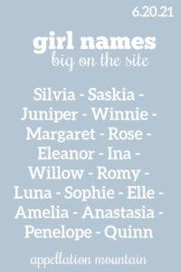 Girl Names 6.20.21