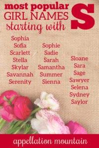 popular S names for girls