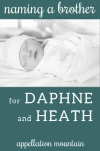 Name Help: A Brother for Daphne & Heath